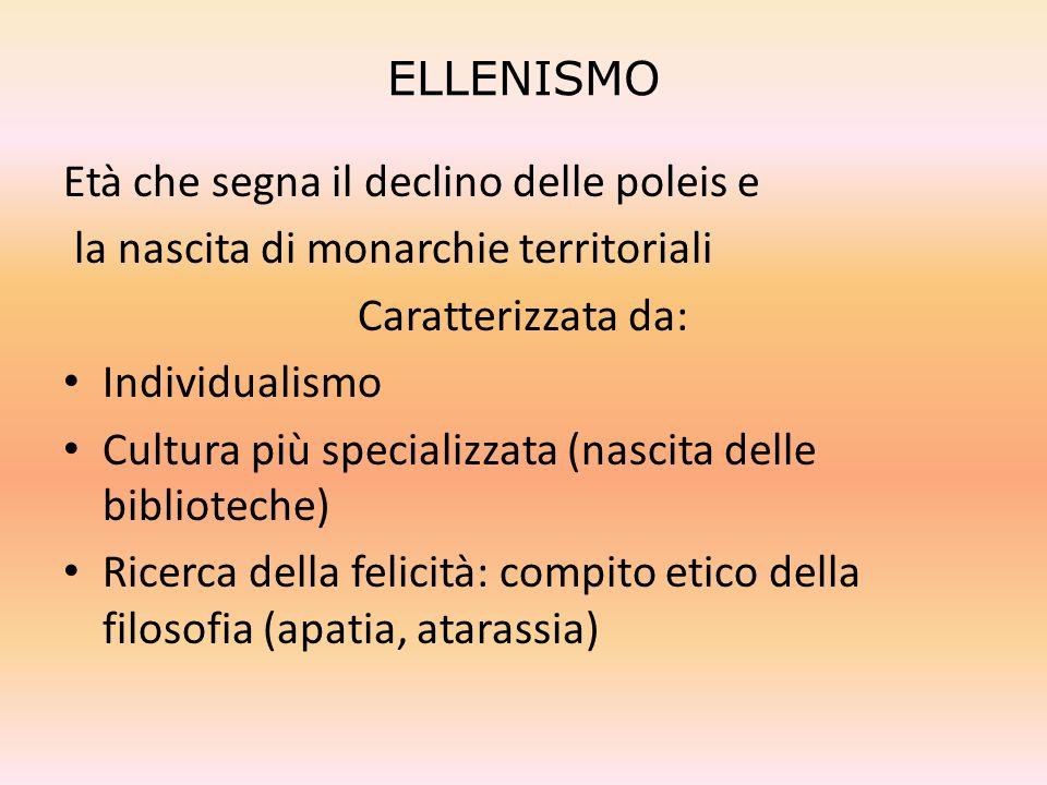 ELLENISMO Età che segna il declino delle poleis e. la nascita di monarchie territoriali. Caratterizzata da: