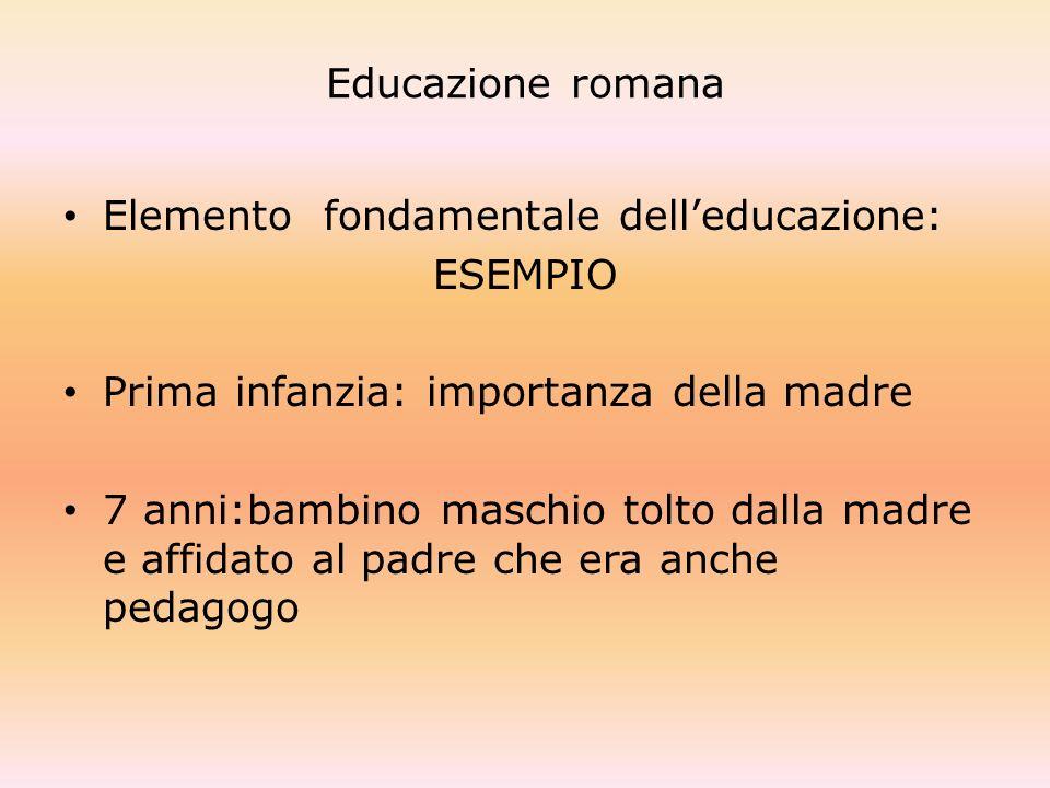 Educazione romana Elemento fondamentale dell'educazione: ESEMPIO. Prima infanzia: importanza della madre.