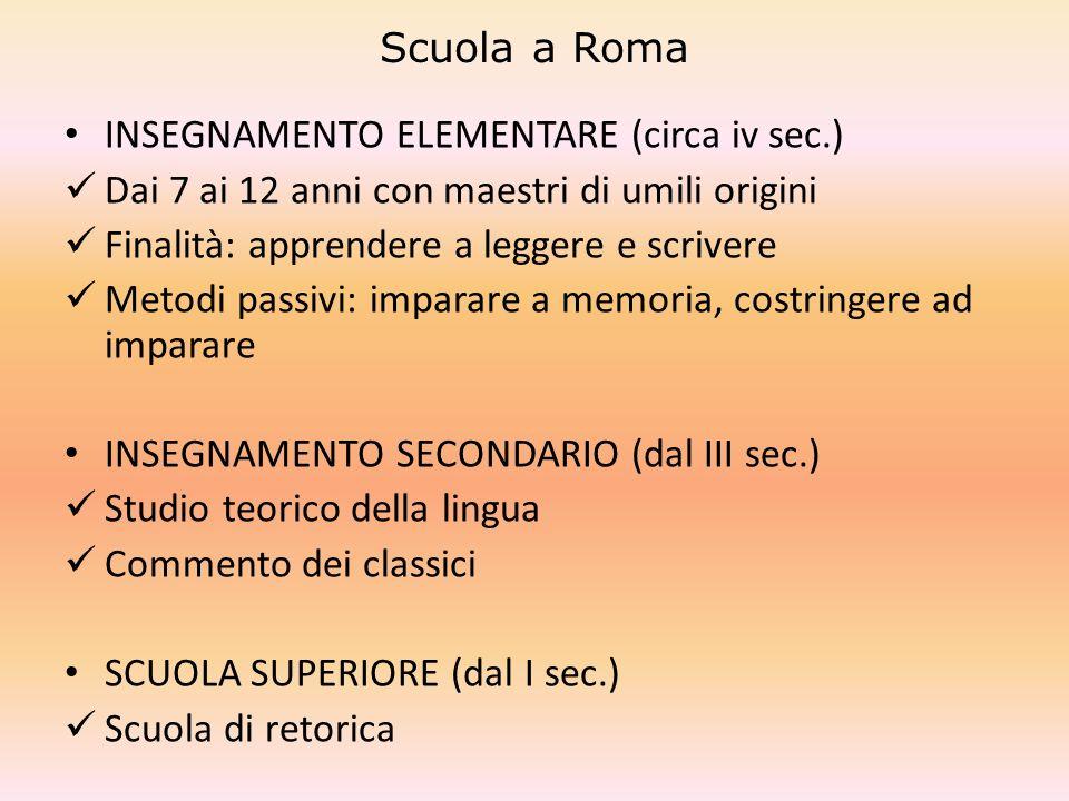 Scuola a Roma INSEGNAMENTO ELEMENTARE (circa iv sec.) Dai 7 ai 12 anni con maestri di umili origini.