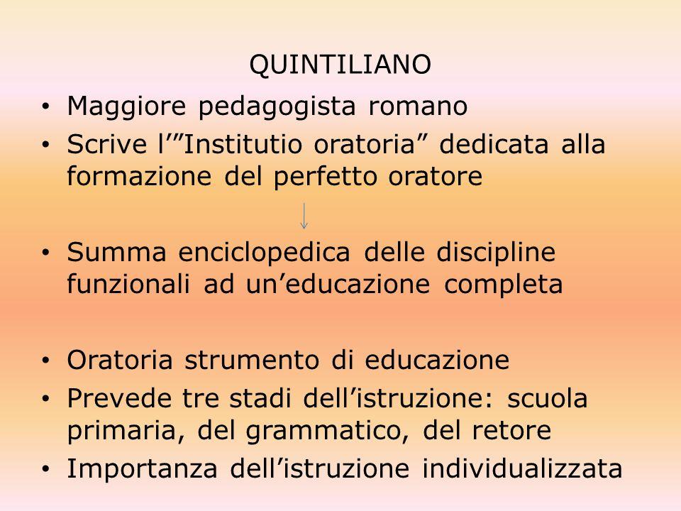 QUINTILIANO Maggiore pedagogista romano. Scrive l' Institutio oratoria dedicata alla formazione del perfetto oratore.
