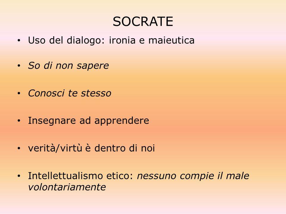 SOCRATE Uso del dialogo: ironia e maieutica So di non sapere
