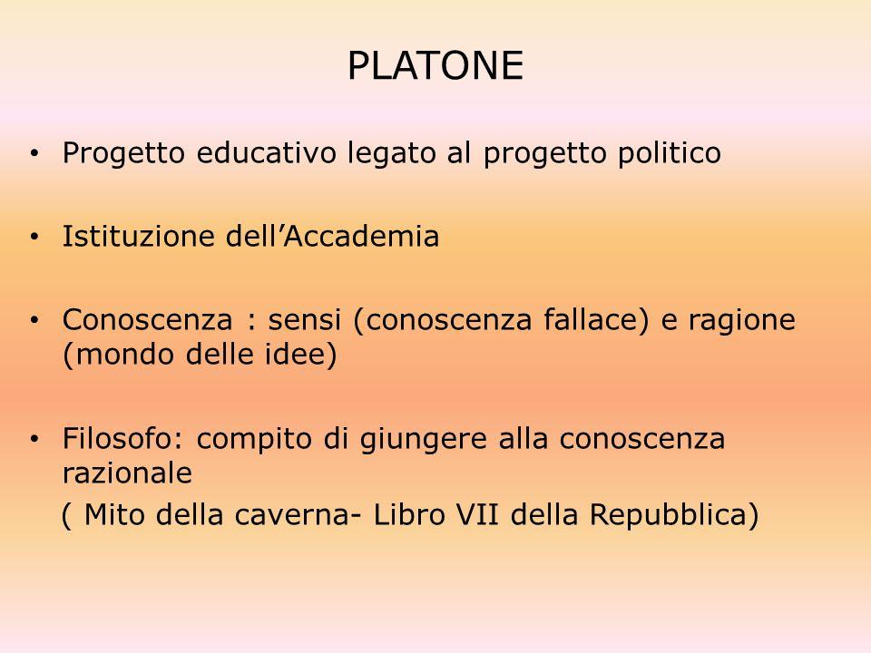 PLATONE Progetto educativo legato al progetto politico