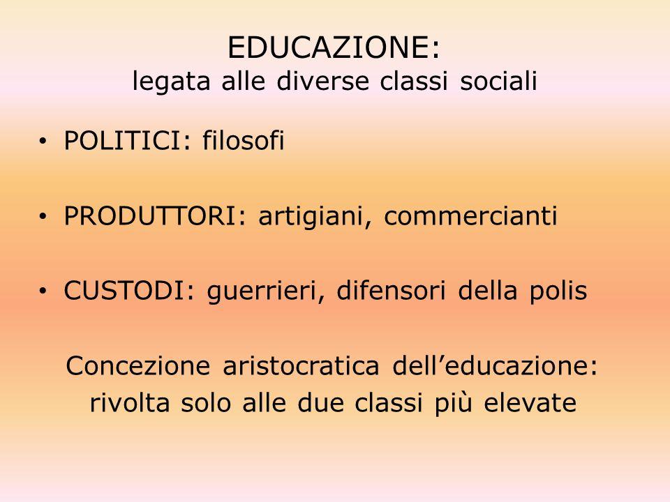EDUCAZIONE: legata alle diverse classi sociali