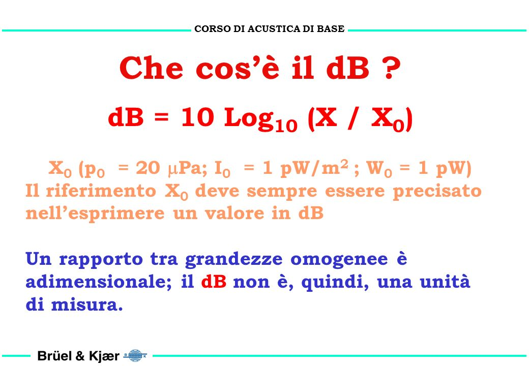 CORSO DI ACUSTICA DI BASE X0 (p0 = 20 Pa; I0 = 1 pW/m2 ; W0 = 1 pW)