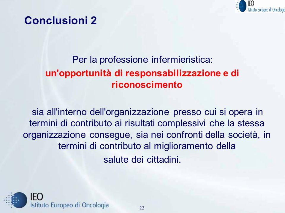 Conclusioni 2 Per la professione infermieristica: