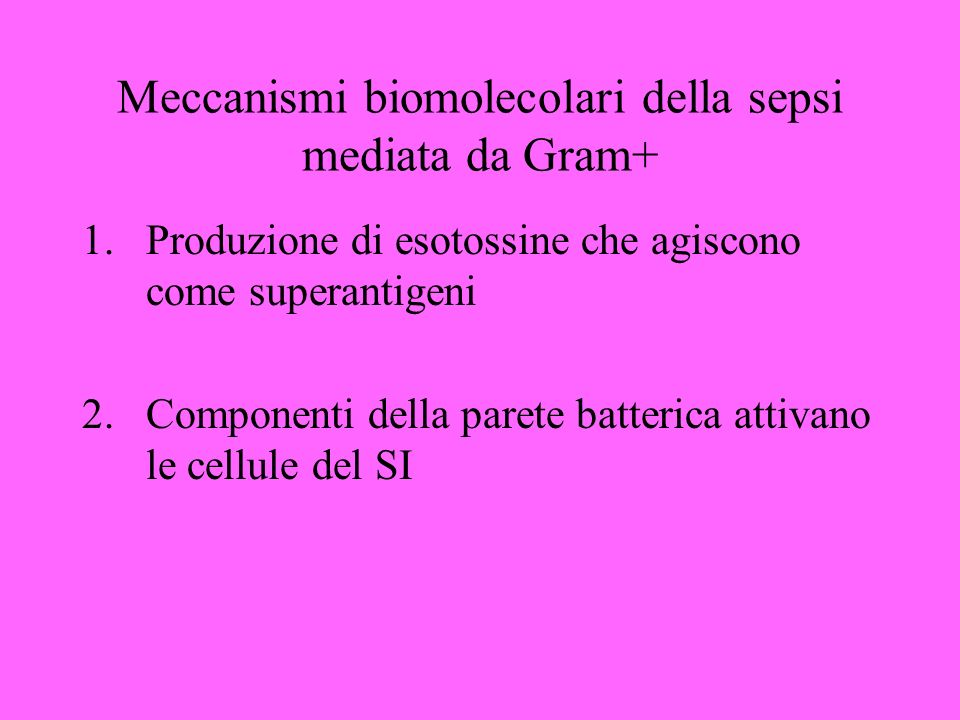 Meccanismi biomolecolari della sepsi mediata da Gram+