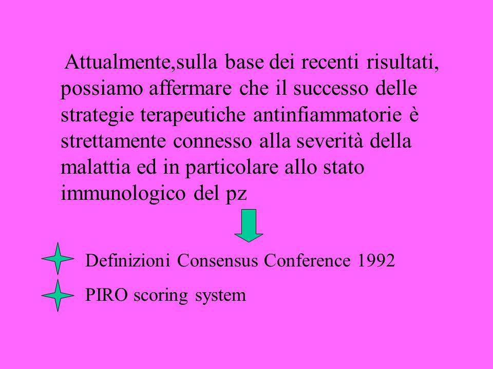 Attualmente,sulla base dei recenti risultati, possiamo affermare che il successo delle strategie terapeutiche antinfiammatorie è strettamente connesso alla severità della malattia ed in particolare allo stato immunologico del pz