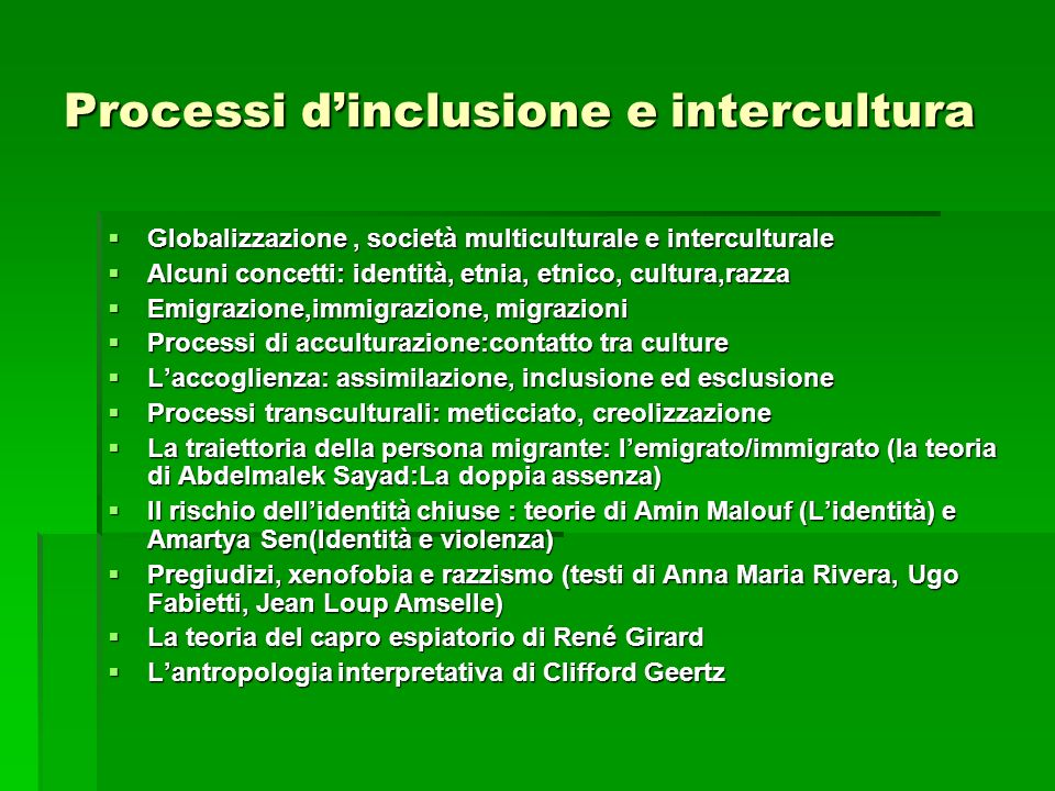 Processi d'inclusione e intercultura