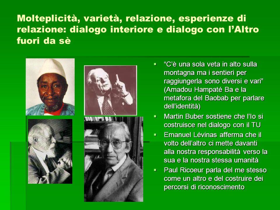 Molteplicità, varietà, relazione, esperienze di relazione: dialogo interiore e dialogo con l'Altro fuori da sè