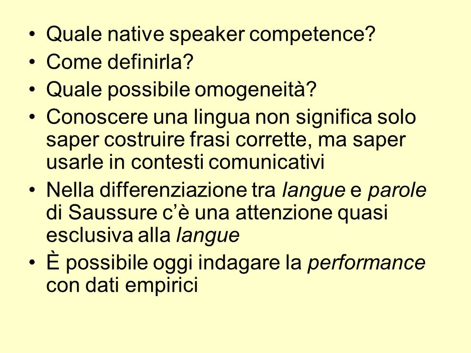 Quale native speaker competence
