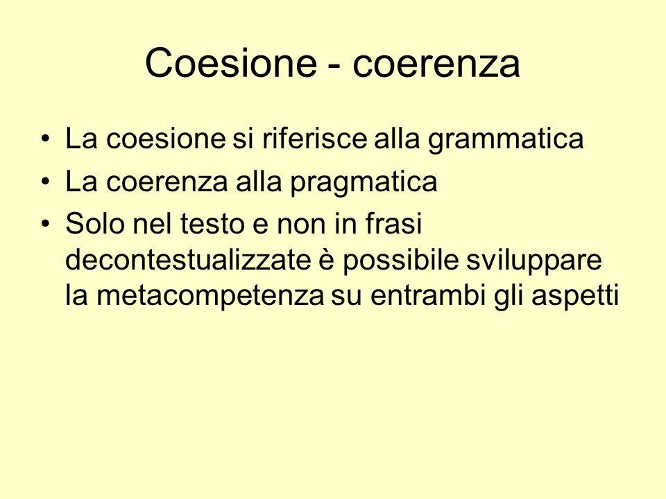 Coesione - coerenza La coesione si riferisce alla grammatica