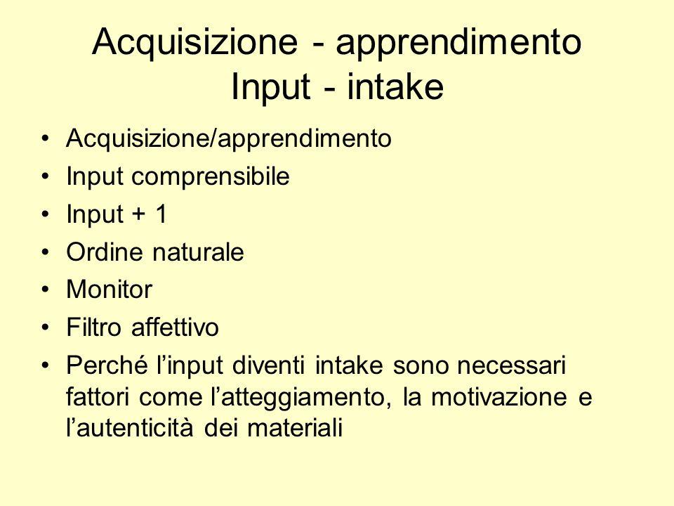 Acquisizione - apprendimento Input - intake