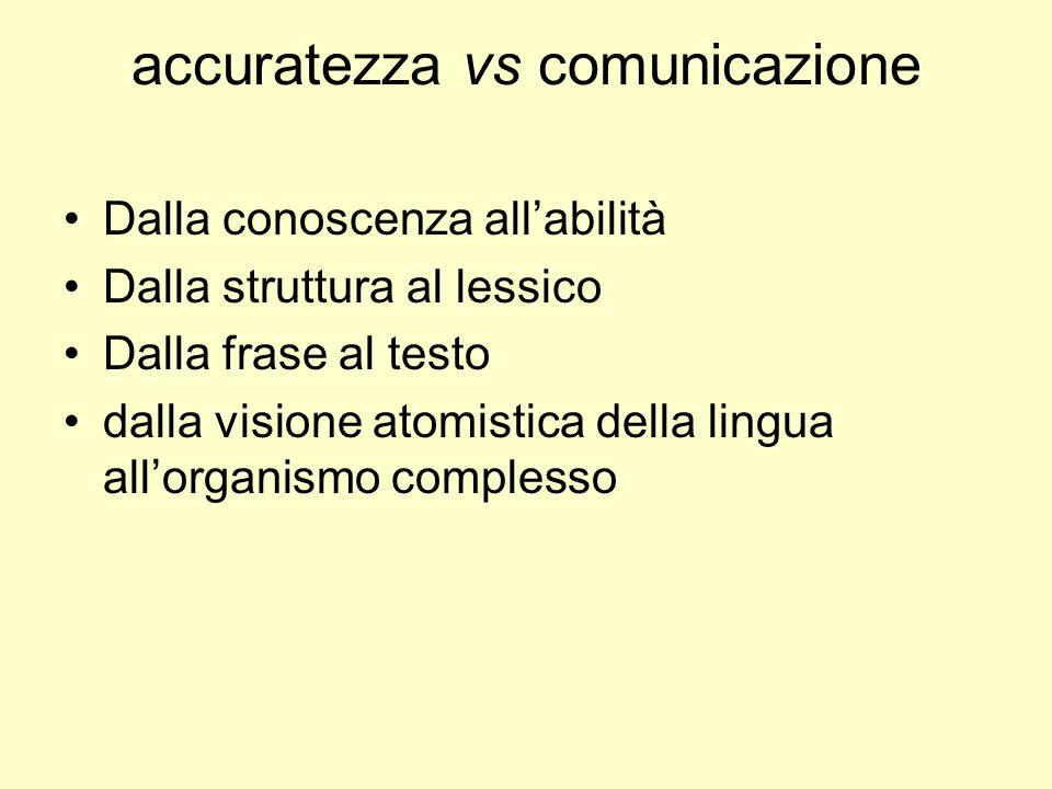 accuratezza vs comunicazione