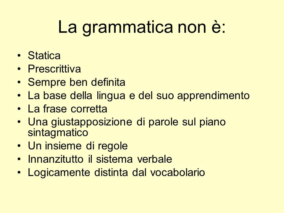 La grammatica non è: Statica Prescrittiva Sempre ben definita