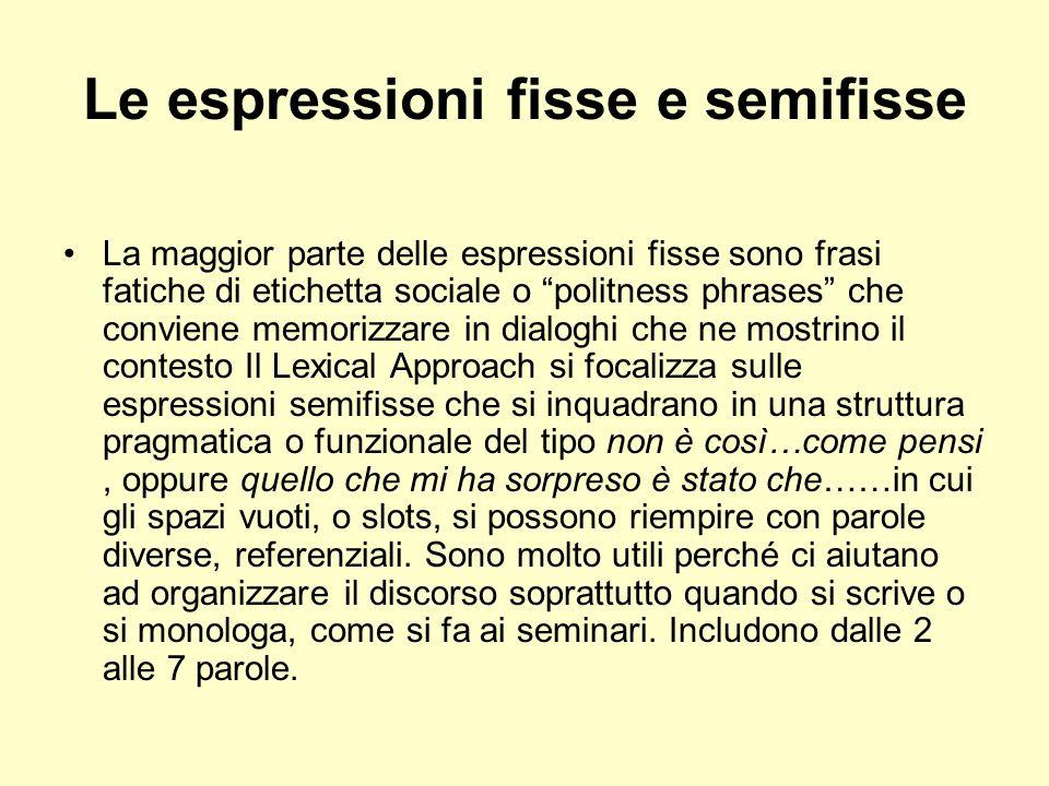 Le espressioni fisse e semifisse