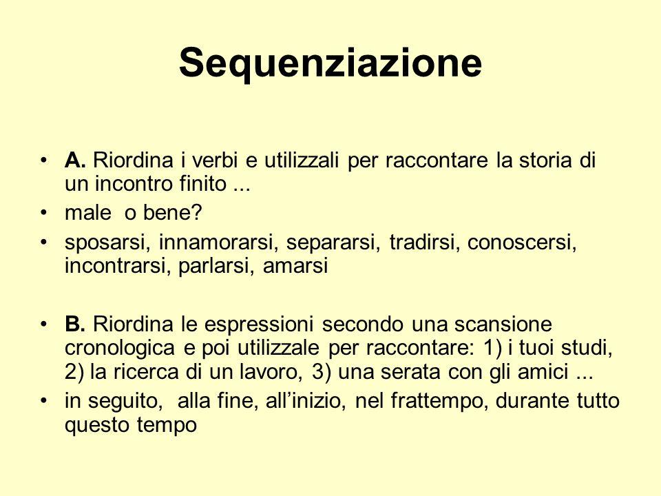 Sequenziazione A. Riordina i verbi e utilizzali per raccontare la storia di un incontro finito ... male o bene
