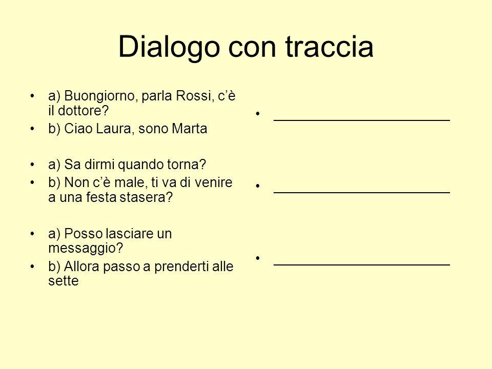 Dialogo con traccia a) Buongiorno, parla Rossi, c'è il dottore