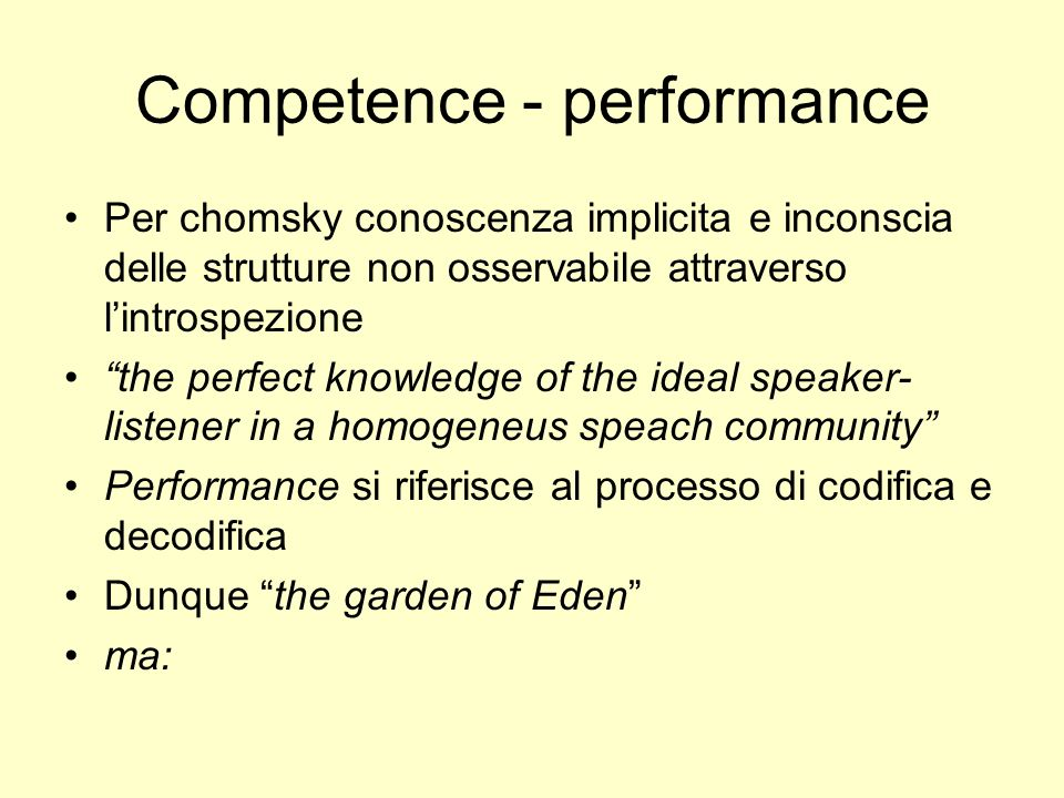 Competence - performance
