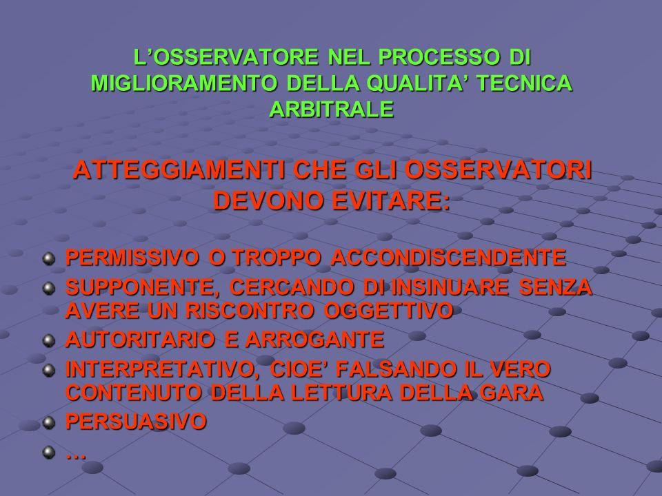 L'OSSERVATORE NEL PROCESSO DI MIGLIORAMENTO DELLA QUALITA' TECNICA ARBITRALE ATTEGGIAMENTI CHE GLI OSSERVATORI DEVONO EVITARE: