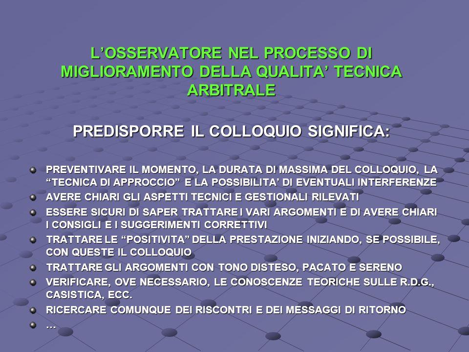 L'OSSERVATORE NEL PROCESSO DI MIGLIORAMENTO DELLA QUALITA' TECNICA ARBITRALE PREDISPORRE IL COLLOQUIO SIGNIFICA: