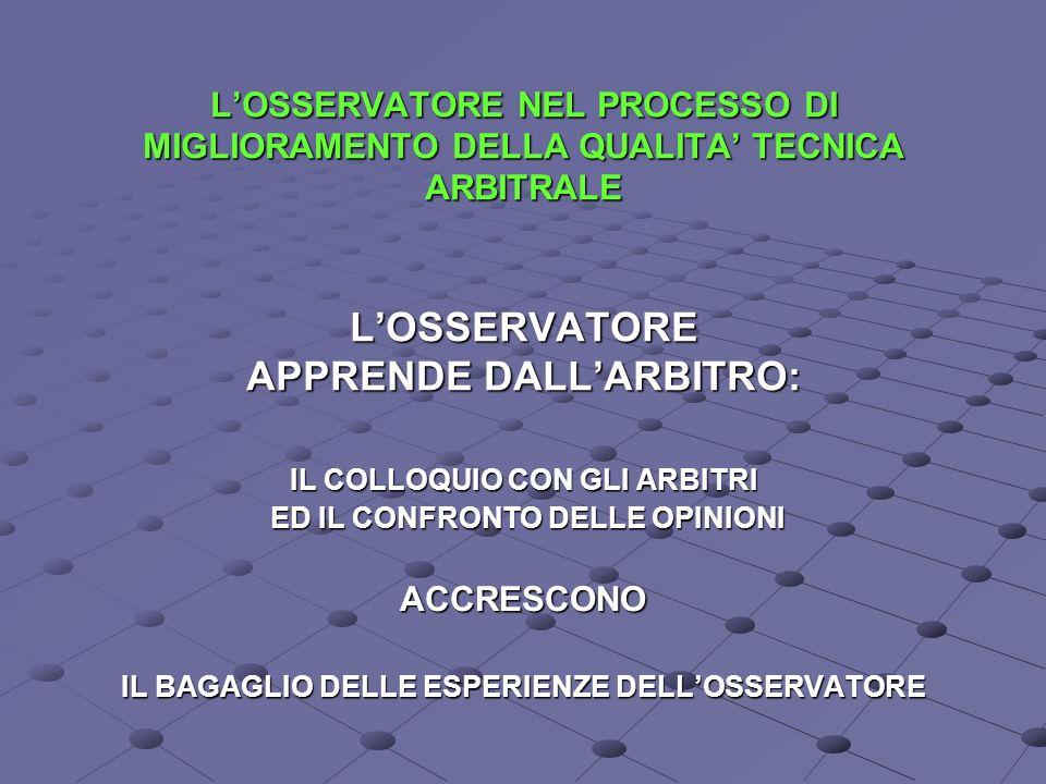 L'OSSERVATORE NEL PROCESSO DI MIGLIORAMENTO DELLA QUALITA' TECNICA ARBITRALE L'OSSERVATORE APPRENDE DALL'ARBITRO:
