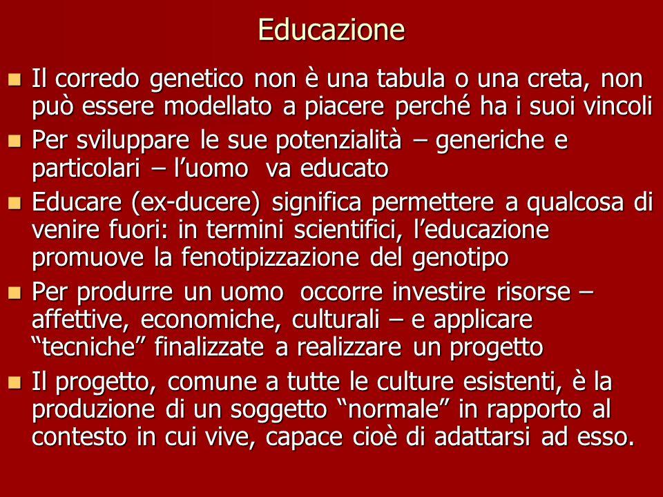 Educazione Il corredo genetico non è una tabula o una creta, non può essere modellato a piacere perché ha i suoi vincoli.