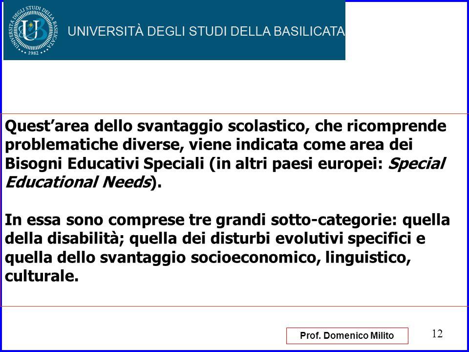 Quest'area dello svantaggio scolastico, che ricomprende problematiche diverse, viene indicata come area dei Bisogni Educativi Speciali (in altri paesi europei: Special Educational Needs).