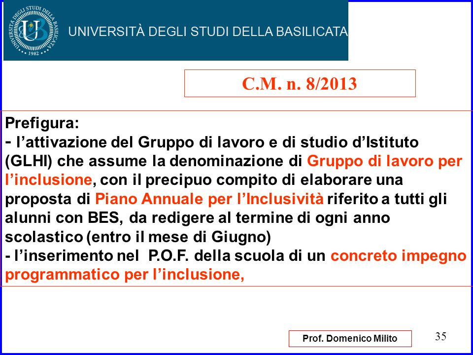 C.M. n. 8/2013 Prefigura: