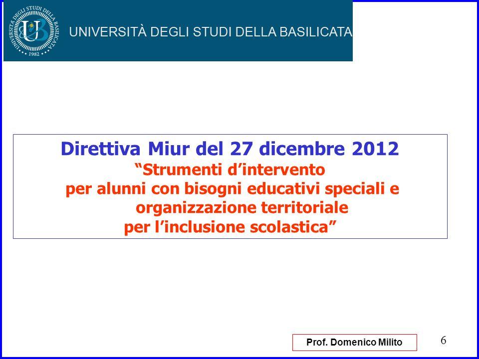 Direttiva Miur del 27 dicembre 2012