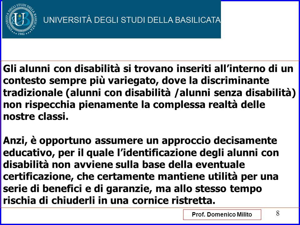 Gli alunni con disabilità si trovano inseriti all'interno di un contesto sempre più variegato, dove la discriminante tradizionale (alunni con disabilità /alunni senza disabilità) non rispecchia pienamente la complessa realtà delle nostre classi.
