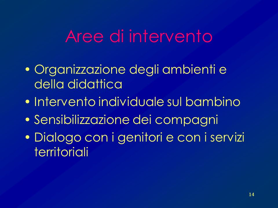 Aree di intervento Organizzazione degli ambienti e della didattica