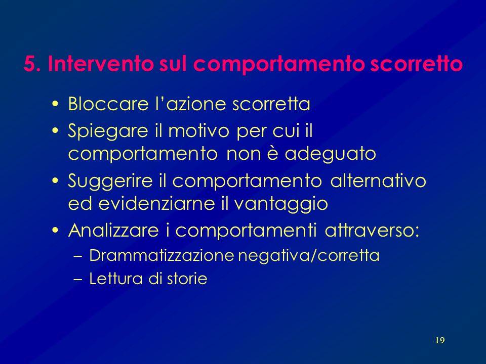 5. Intervento sul comportamento scorretto