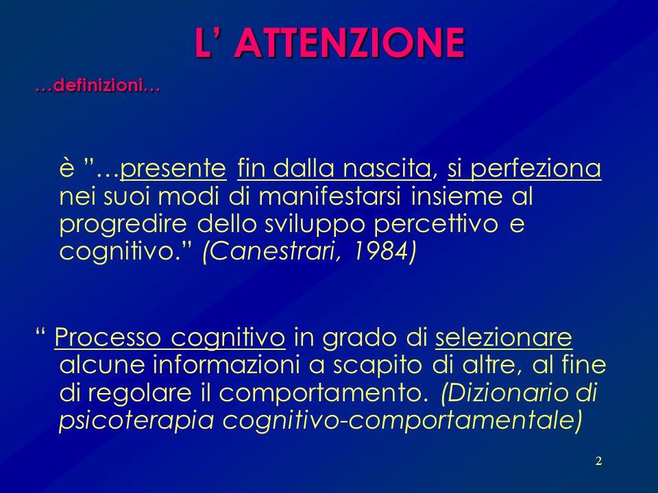 L' ATTENZIONE…definizioni…