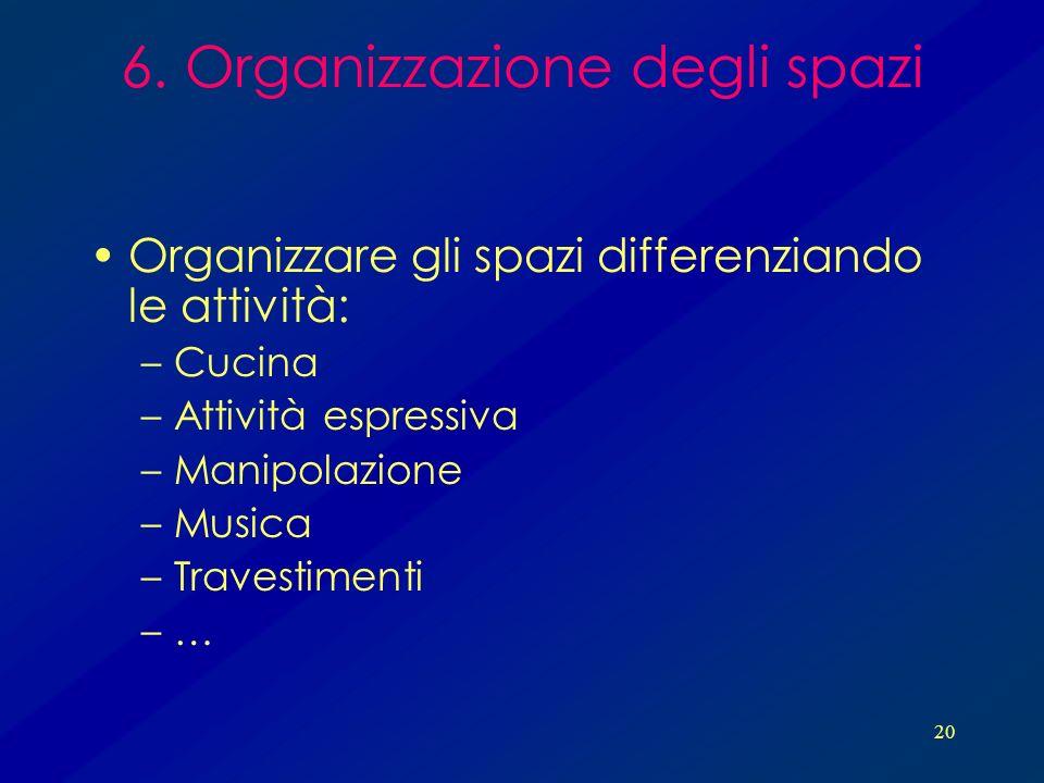 6. Organizzazione degli spazi