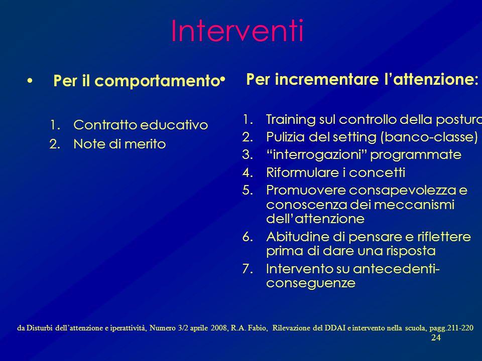 Interventi Per il comportamento Per incrementare l'attenzione:
