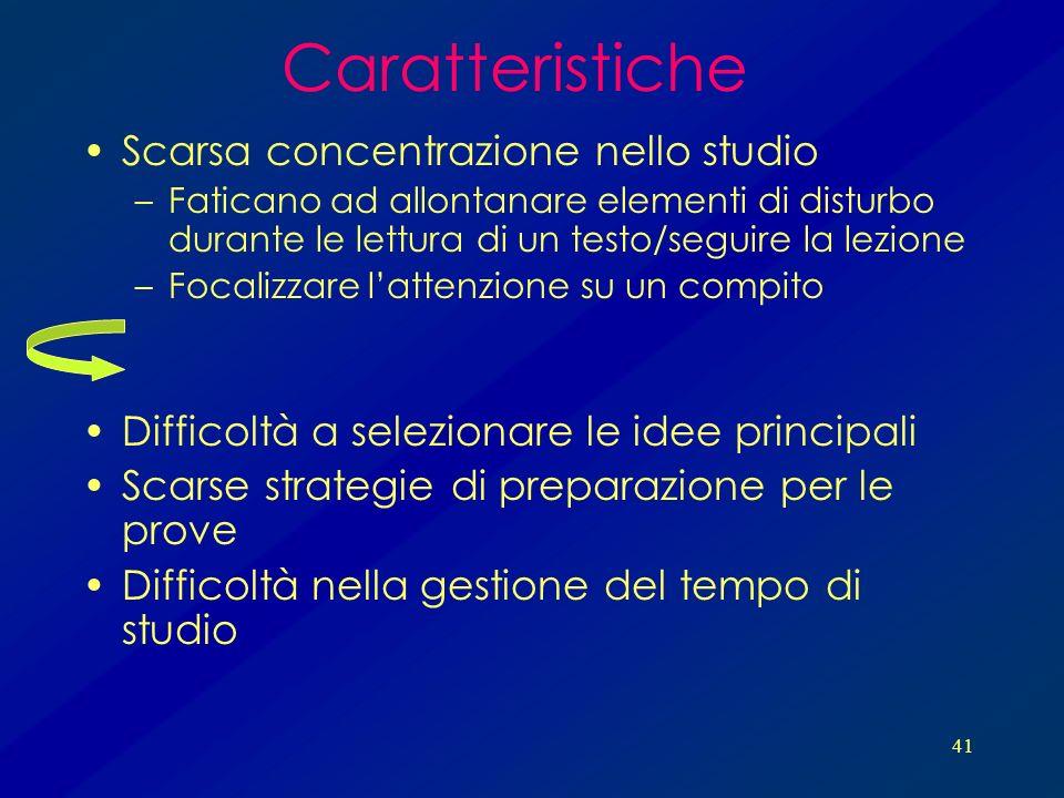 Caratteristiche Scarsa concentrazione nello studio