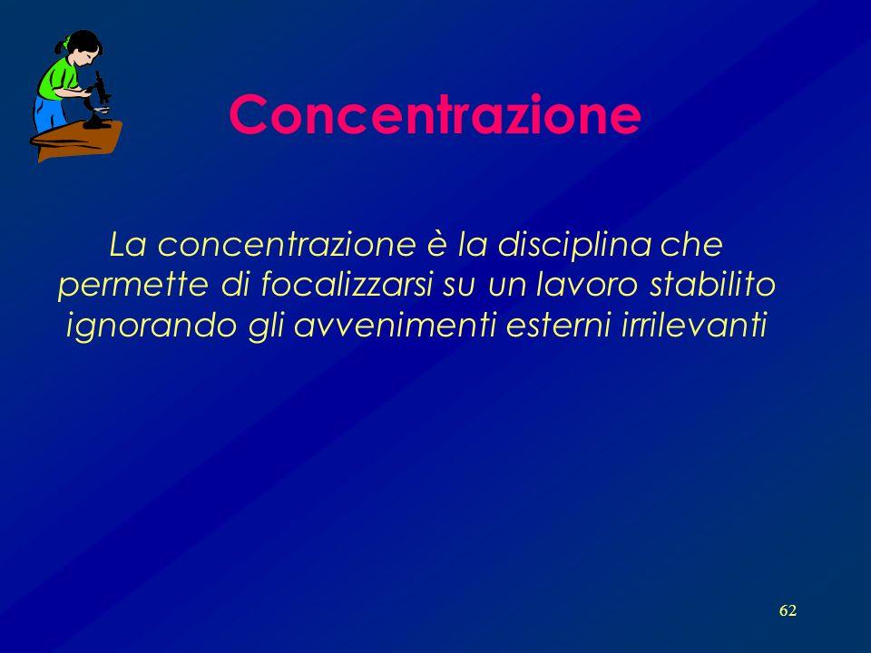 Concentrazione La concentrazione è la disciplina che permette di focalizzarsi su un lavoro stabilito ignorando gli avvenimenti esterni irrilevanti.