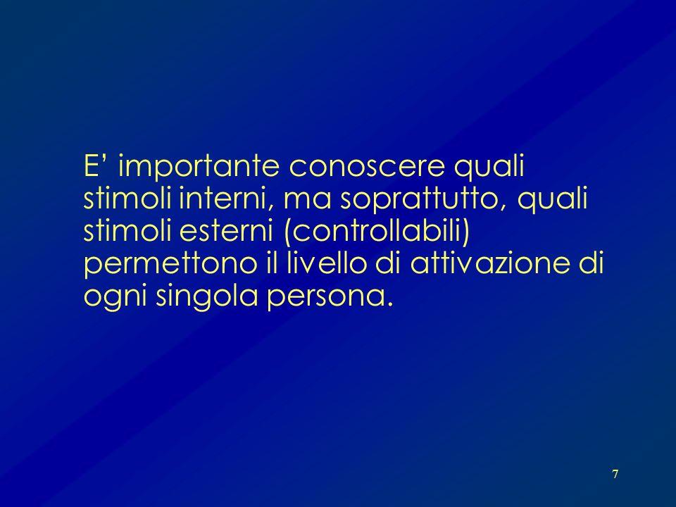 E' importante conoscere quali stimoli interni, ma soprattutto, quali stimoli esterni (controllabili) permettono il livello di attivazione di ogni singola persona.