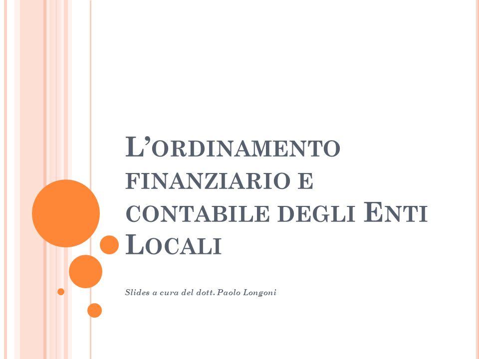 L'ordinamento finanziario e contabile degli Enti Locali