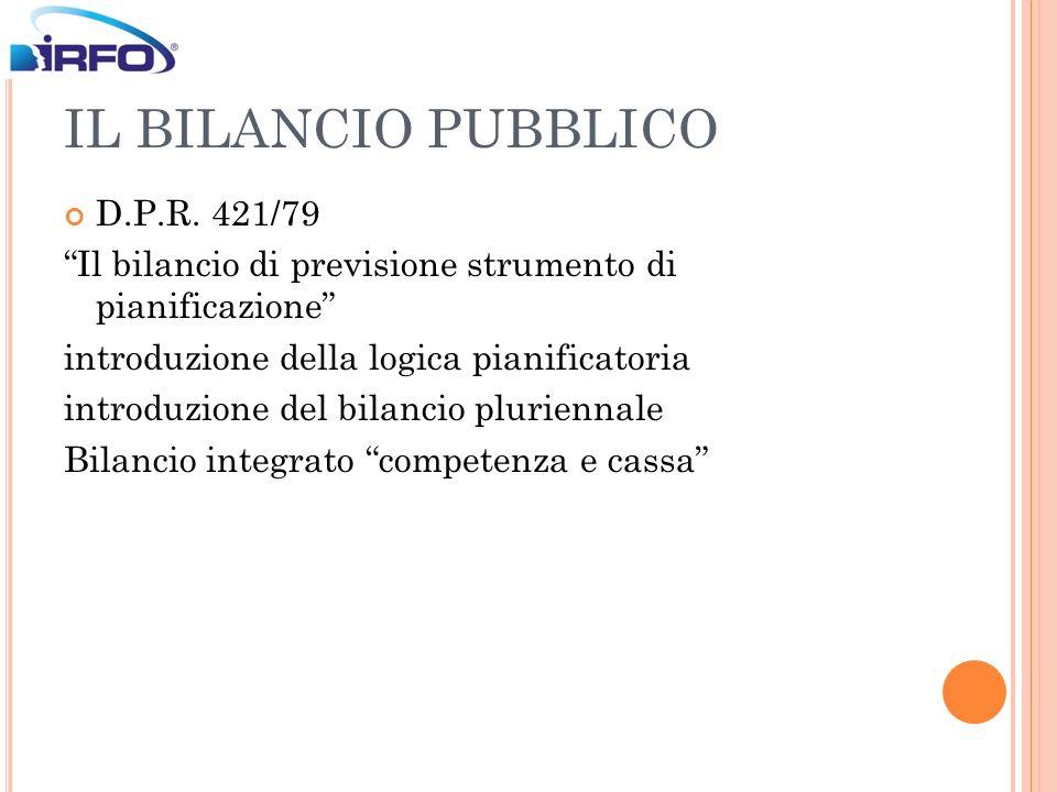 IL BILANCIO PUBBLICO D.P.R. 421/79