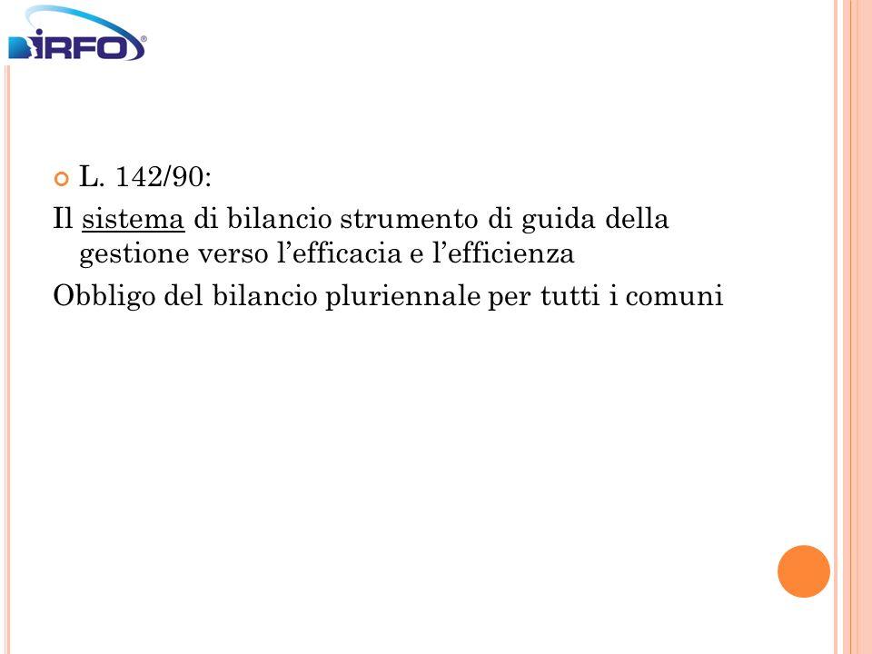 L. 142/90: Il sistema di bilancio strumento di guida della gestione verso l'efficacia e l'efficienza.
