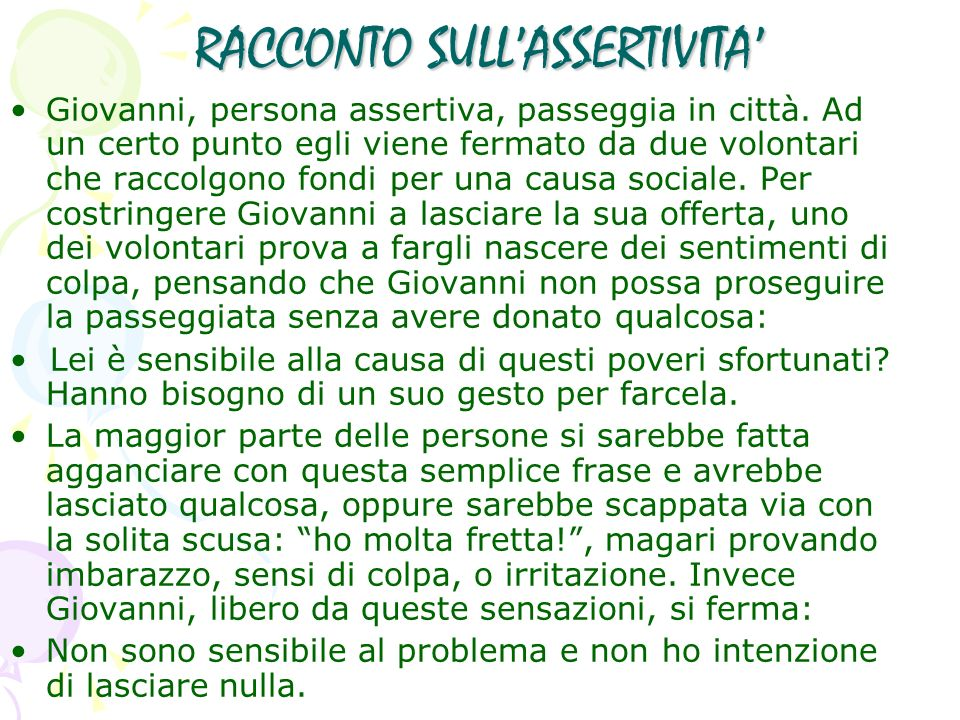 RACCONTO SULL'ASSERTIVITA'
