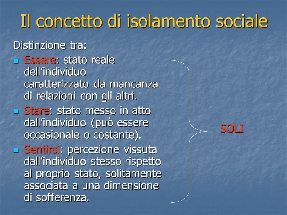 Il concetto di isolamento sociale
