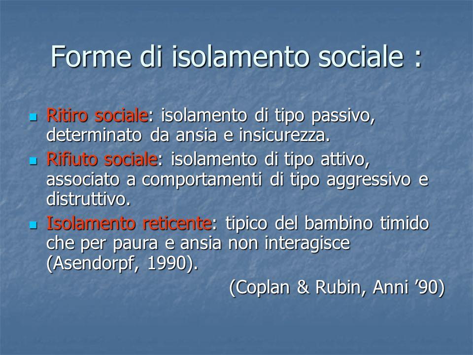Forme di isolamento sociale :