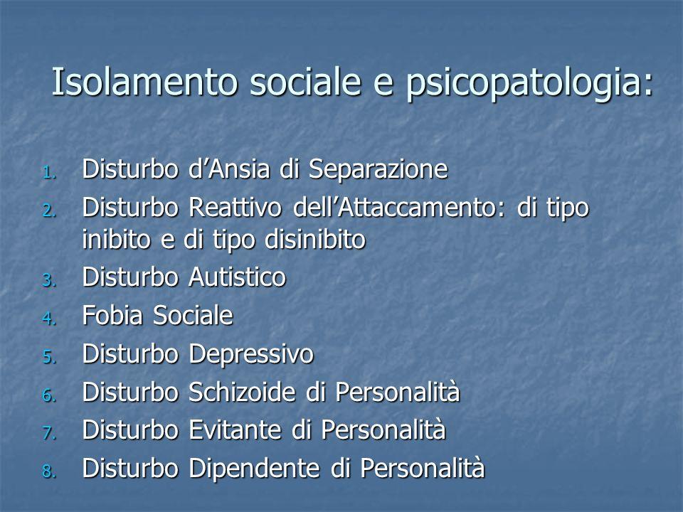 Isolamento sociale e psicopatologia: