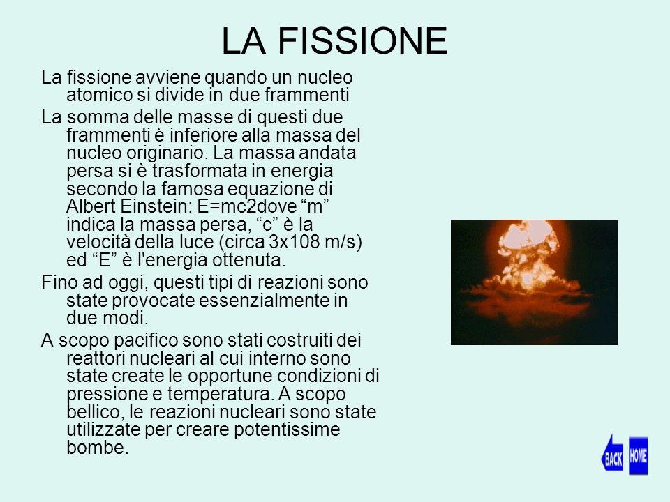 LA FISSIONE La fissione avviene quando un nucleo atomico si divide in due frammenti.
