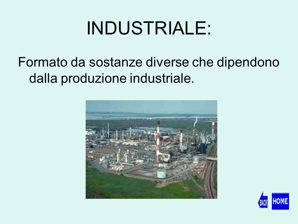INDUSTRIALE: Formato da sostanze diverse che dipendono dalla produzione industriale.