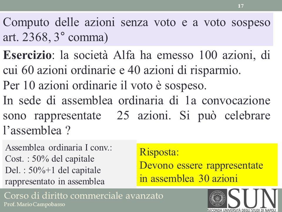 Computo delle azioni senza voto e a voto sospeso art. 2368, 3° comma)