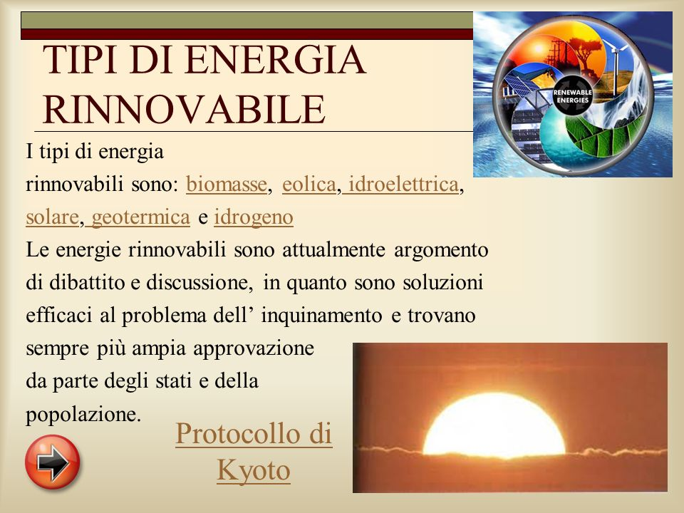TIPI DI ENERGIA RINNOVABILE