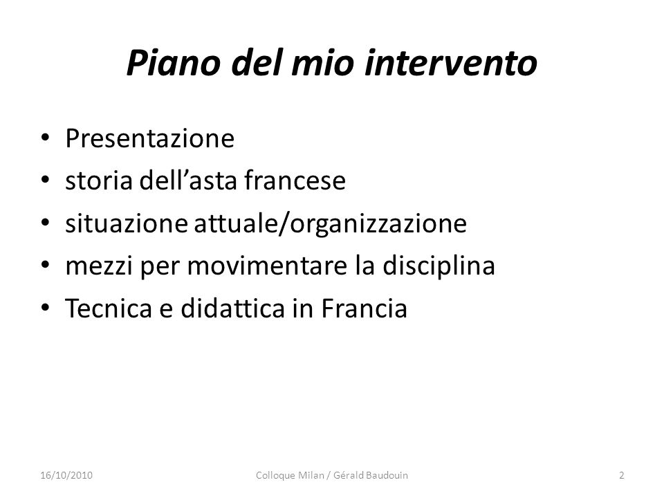 Piano del mio intervento